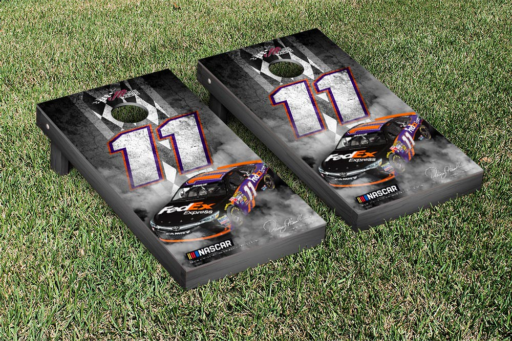 DENNY HAMLIN #11 CORNHOLE GAME SET CONCRETE VERSION (1)