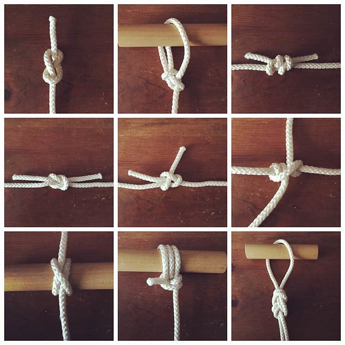 Tying knots, bends, lashings and hitches by memory.