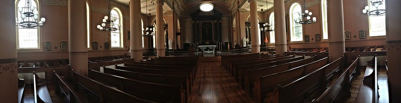 A panoramic view of the interior of the Old Cathedral