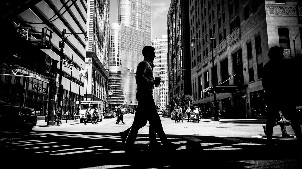 In the middle chicago united states black and white street photography by