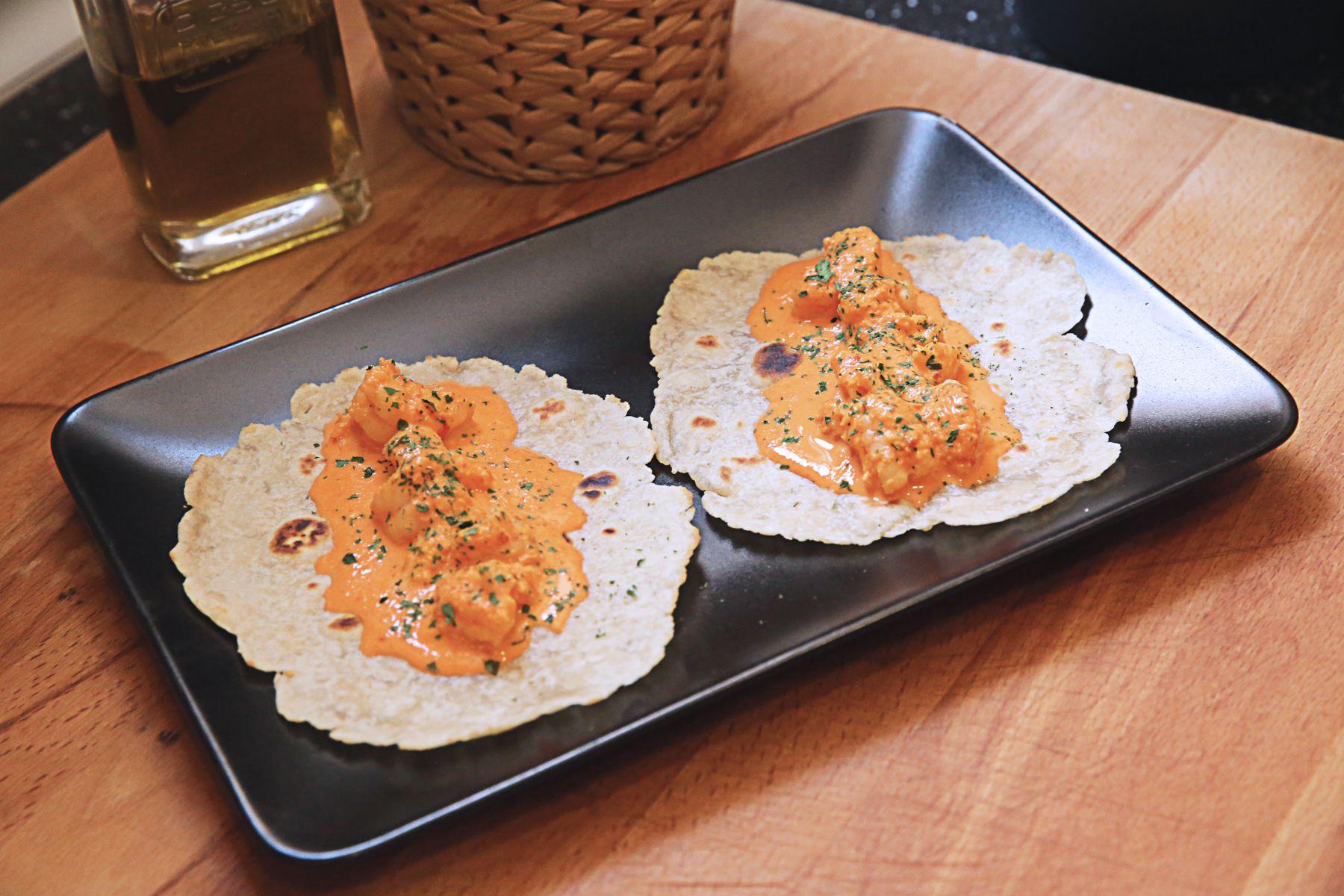 #TrendyCooking : Tacos de Gambas con Salsa de Pimientos