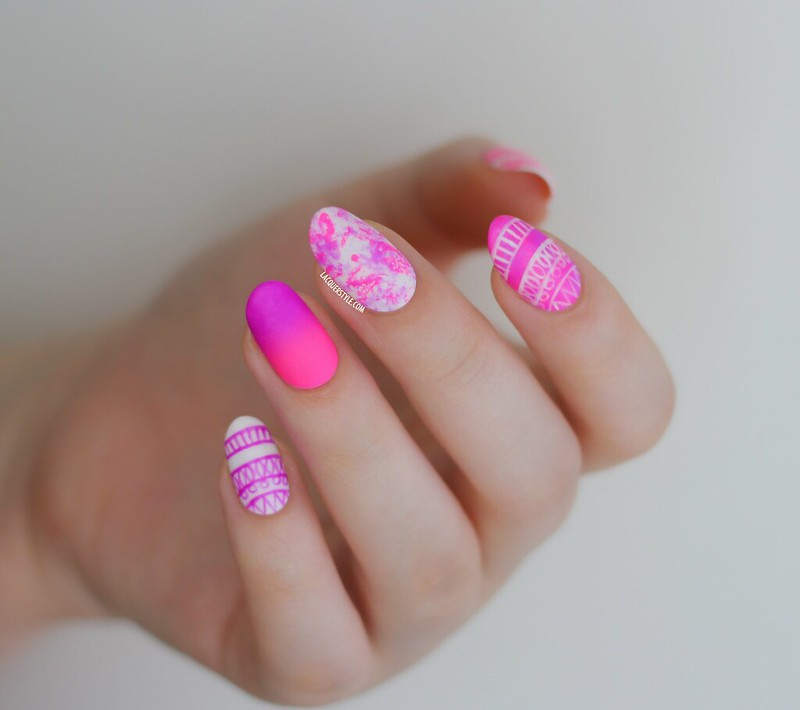 lacquerstyle kgrdnr hand painted neon tribal nail art round nails oval nail polish color club peace out purple orly beach cruiser forever 21 ivory