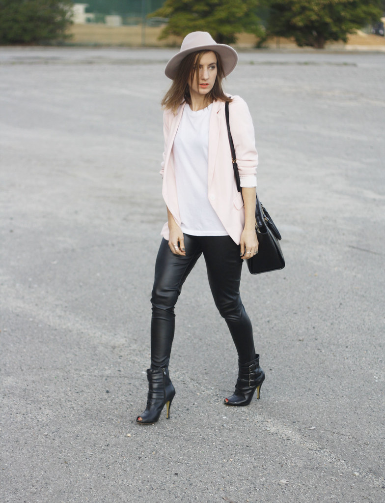 Boohoo leather pants, black boots