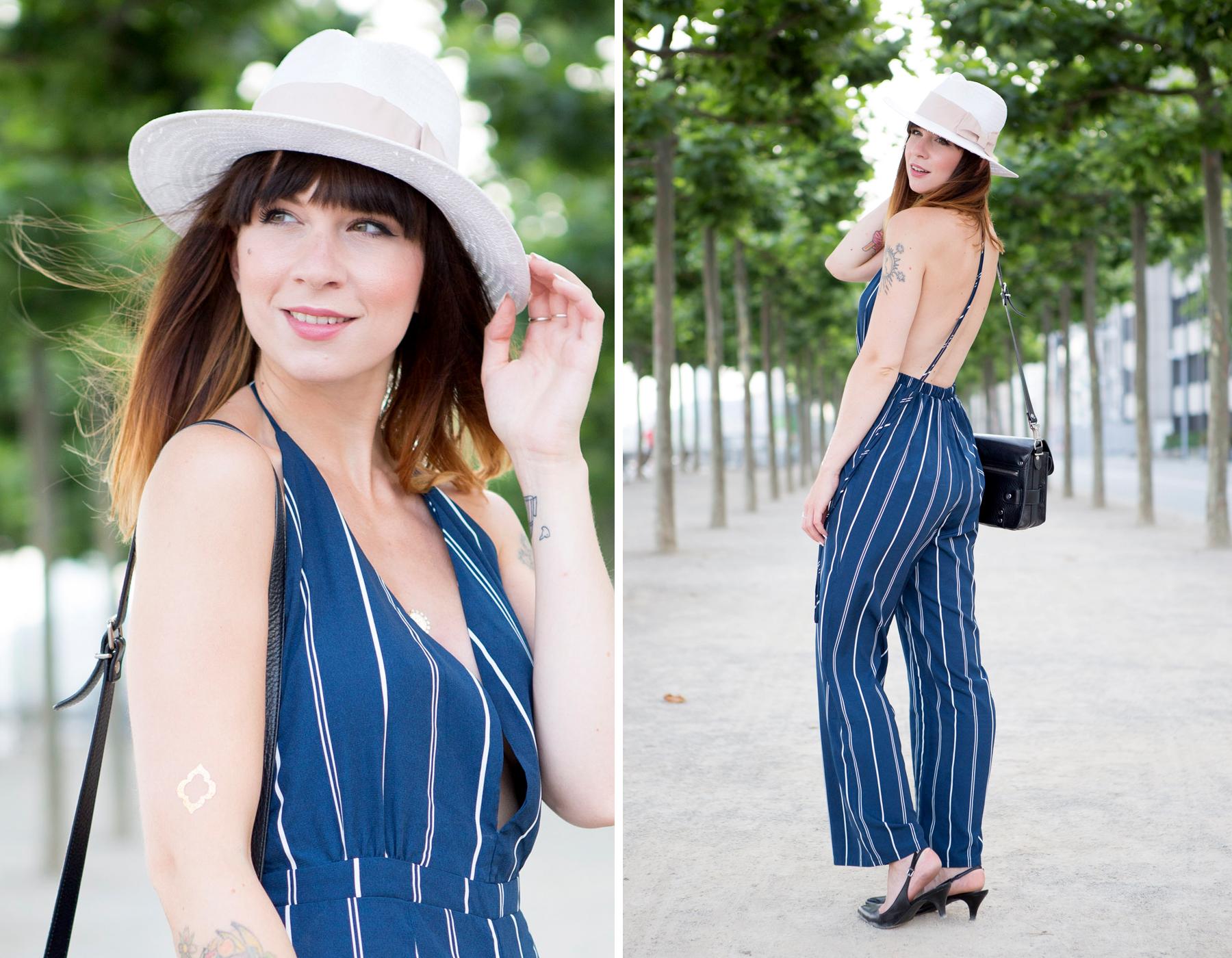 forever 21 jumpsuit overall streifen blue hat summer ombre cats & dogs ricarda schernus blogger berlin 1