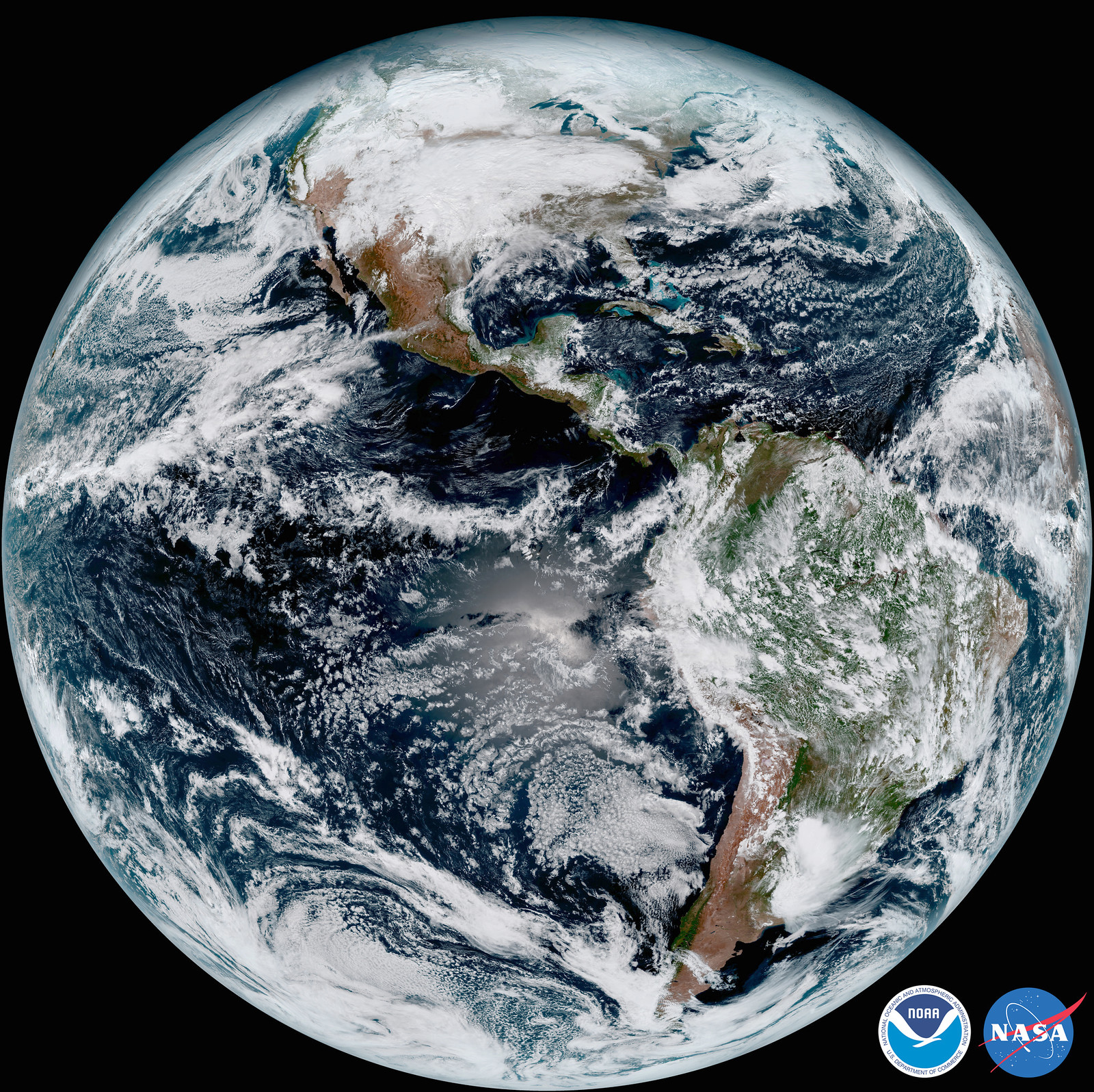GOES-16 image of the Earth