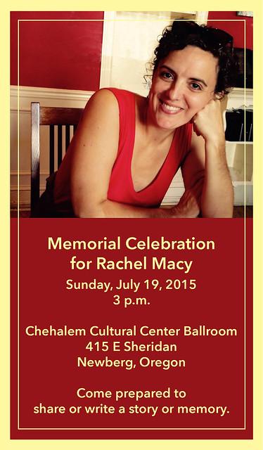 Rachel's memorial celebration