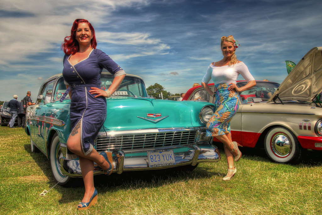 pin ups and a 56 39 chevy a couple of pin up models posing. Black Bedroom Furniture Sets. Home Design Ideas