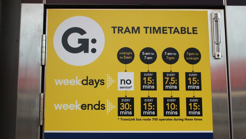 Gold Coast Light Rail: tram timetable