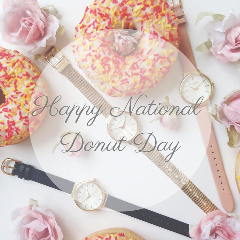 Olivia Burton watches national donut day