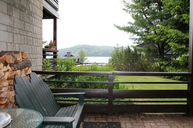 Lakeside Condo rental patio overlooking Lake Placid