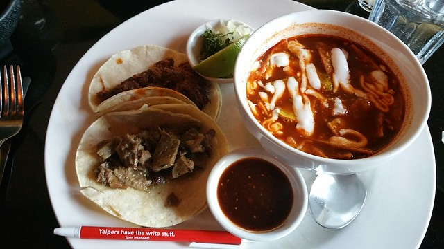 2017-Feb-2 - Salsa & Agave - lunch special - soup and two tacos ($9.50)