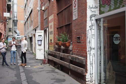 Flat whites and brunch in Melbourne: Rankins Lane, outside Manchester Press