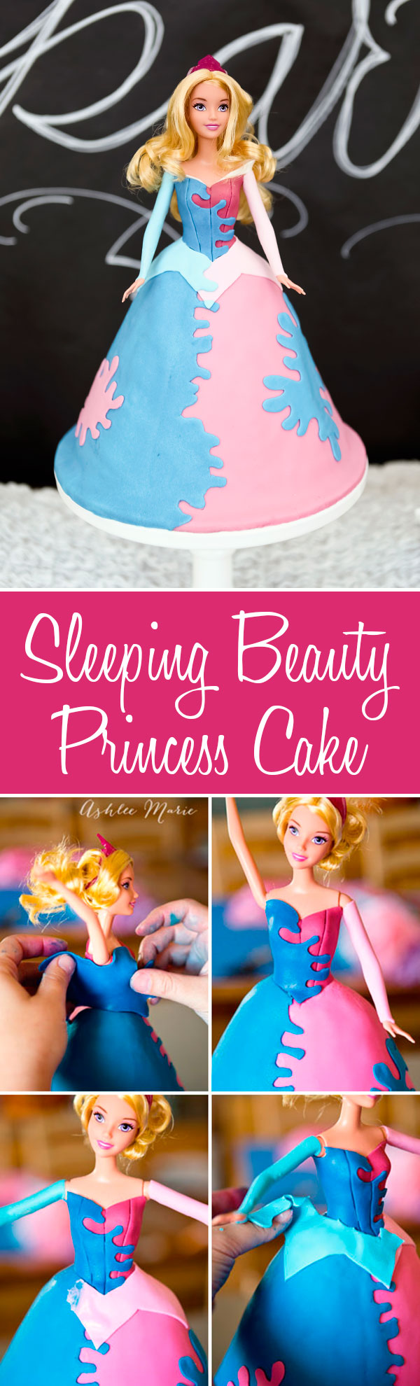 a full tutorial for creating your own sleeping beauty princess cake