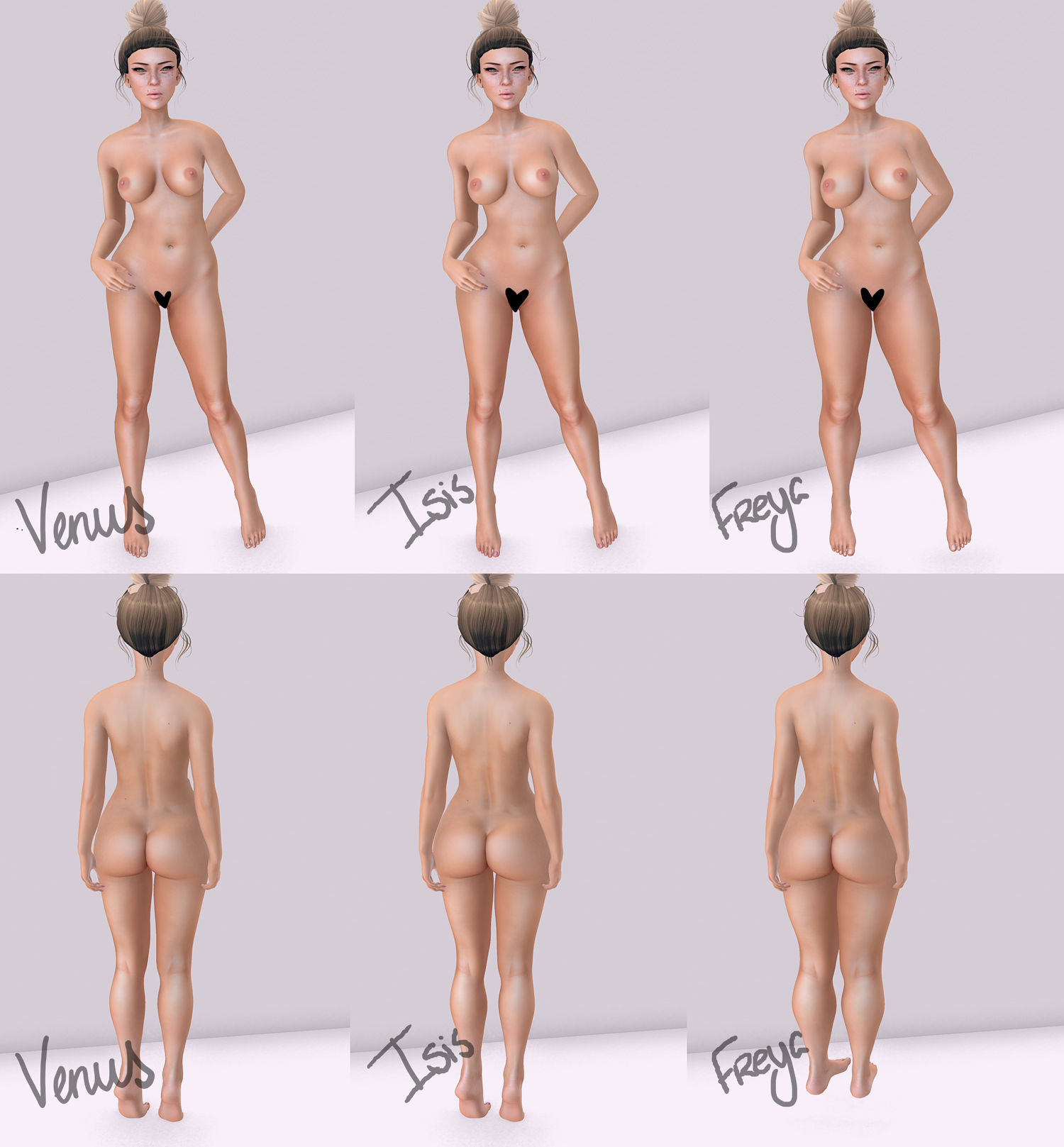 Belleza Mesh Bodies- Front comparison