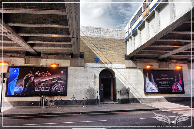 The Establishing Shot: OLD STREET ENTRANCE TO THE BATMAN: ARKHAM KNIGHT CAPE & COWL EXHIBITION @ KACHETTE, LONDON