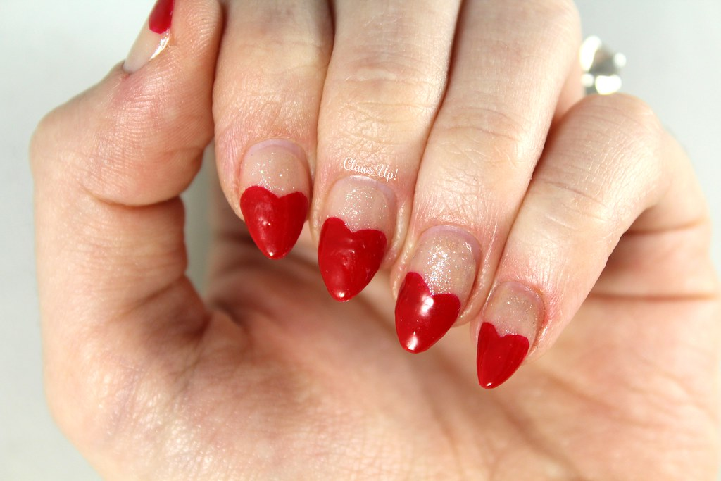French manicure heart nail art