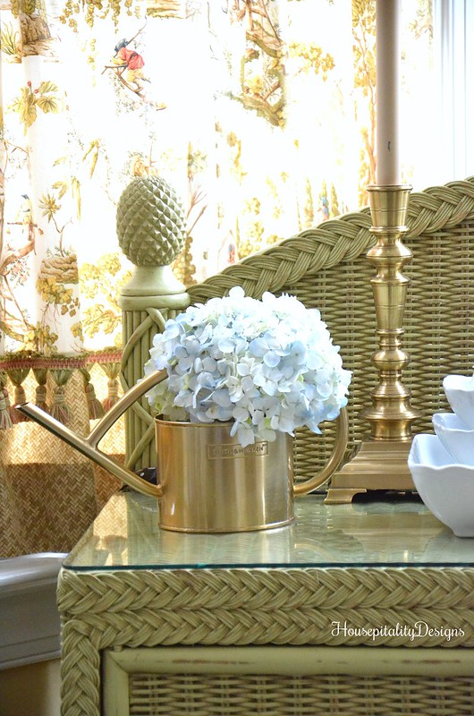 Gold Watering Can-Hydrangeas-Sunroom-Housepitality Designs