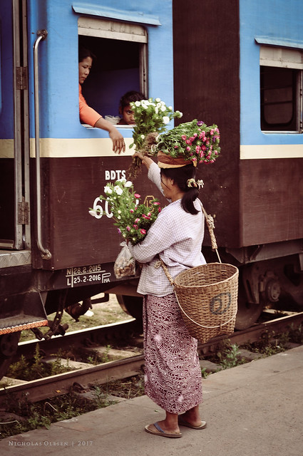 Flower Seller at a Train Station in Myanmar