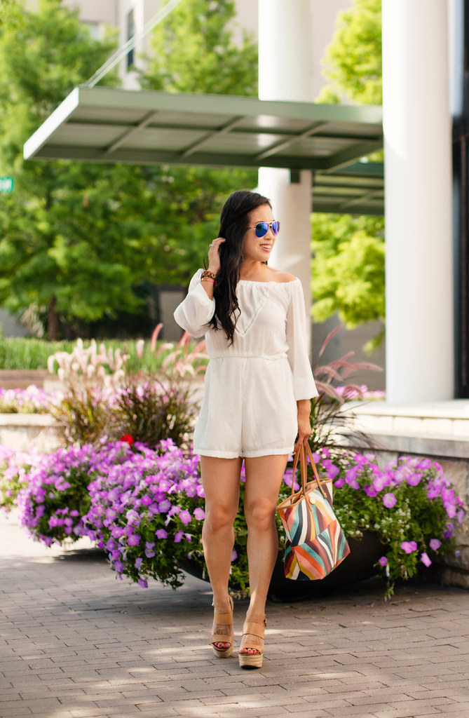 cute & little blog | petite fashion | white off-shoulder romper, nude wedges, tory burch kerrington tote | spring summer outfit