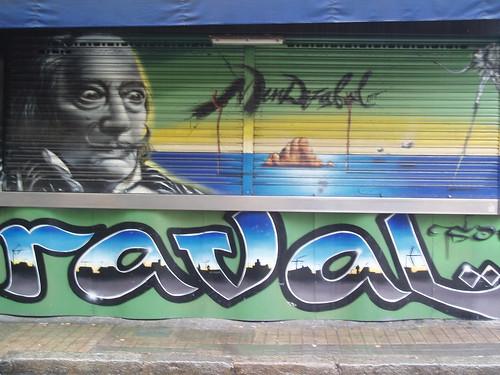 Grafiti de Dalí en el Raval de Barcelona