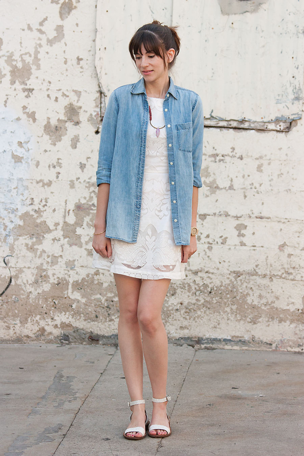 J.Crew Chambray Shirt, White Dress, History and Industry necklace, Madewell Sandals