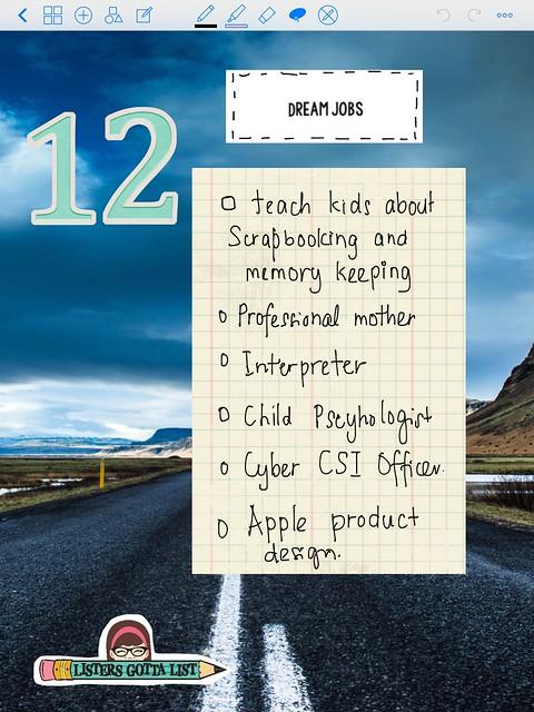 JUNE- LIST 12: DREAM JOBS