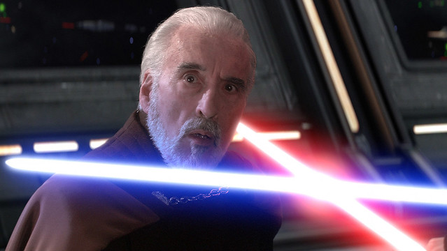 "Christopher Lee as ""Count Dooku"" in the movie ""Star Wars Episode II: Attack of the Clones"""