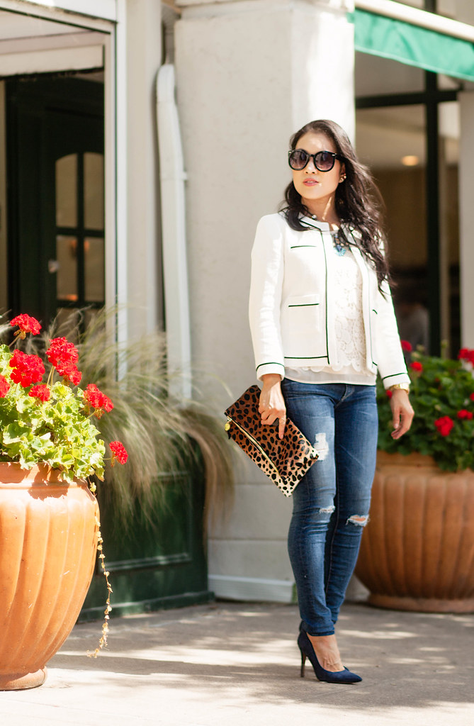 cute & little blog | petite fashion | loft collarless tipped chanel jacket, lace top, clare v. leopard clutch, statement necklace | spring outfit
