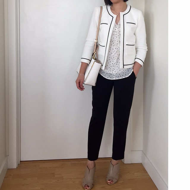Ann Taylor Collarless Tipped Jacket Styled 5 Ways