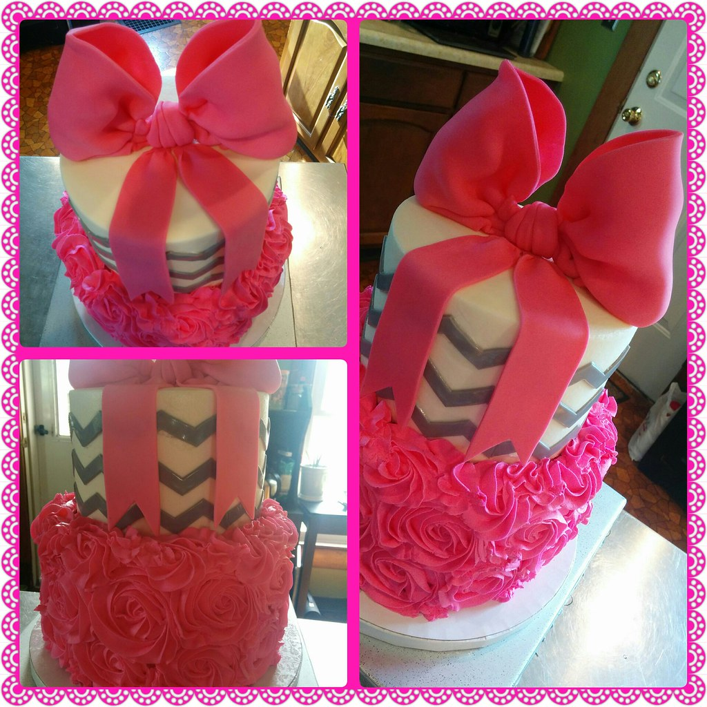 Hot Pink And Grey Baby Shower Cake Kristi Flickr