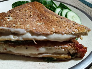 Toastie with Daiya swiss, tofurkey smoked and beetroot relish