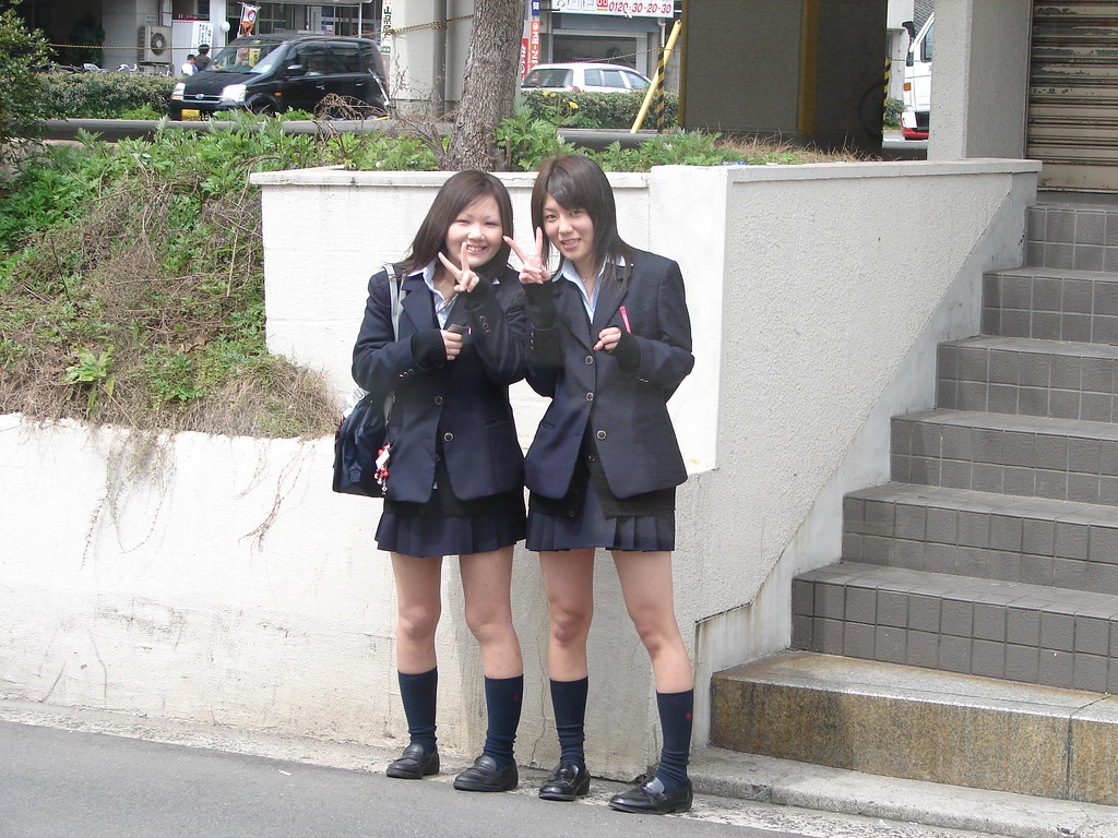 Japanese High-School Students  These Two Cute Japanese -4993