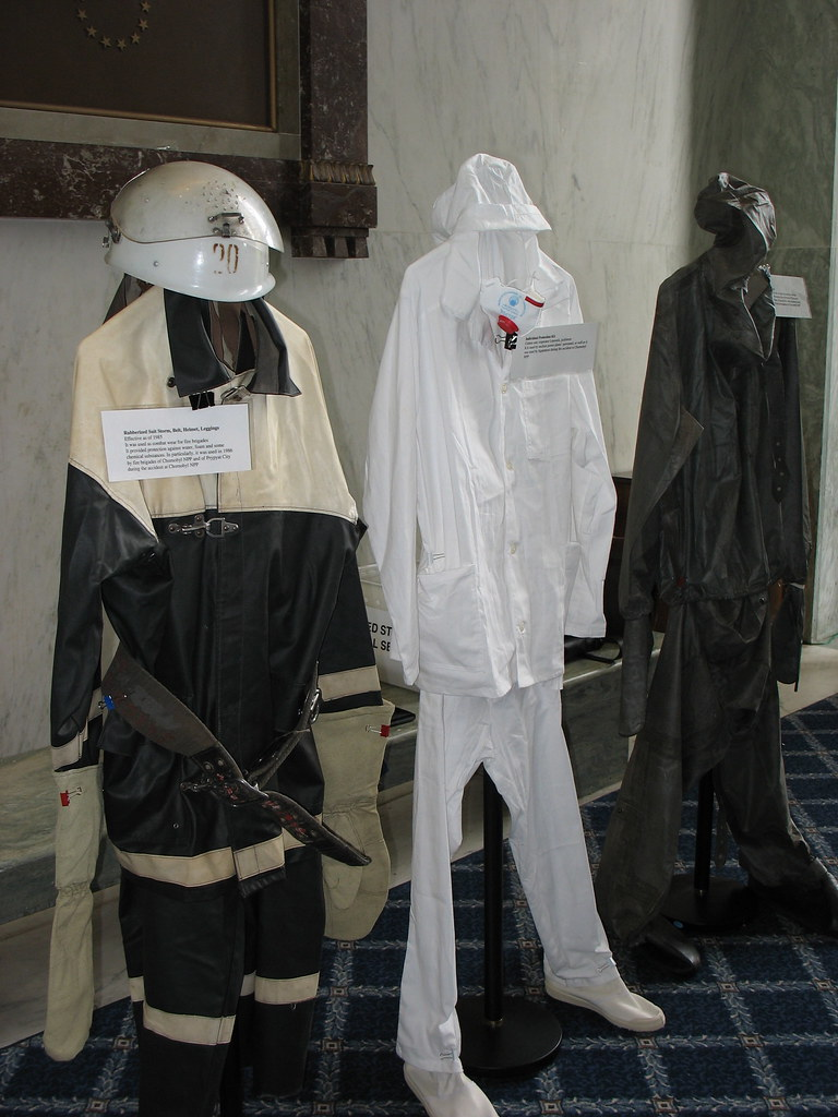 chernobyl liquidator suits at a 20th anniversary