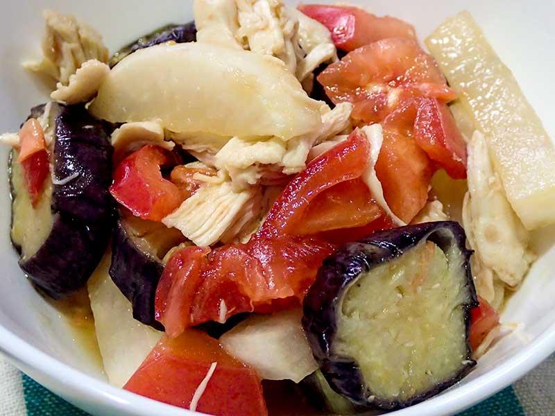 ささみと茄子と大根とトマト