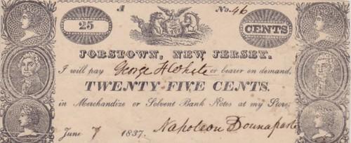 Jobstown NJ note