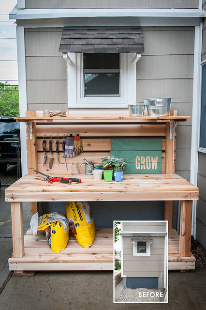 Front shot of DIY Potting Bench with hooks on the back for hanging tools and gloves, inset photo of the small area before the bench was build for it