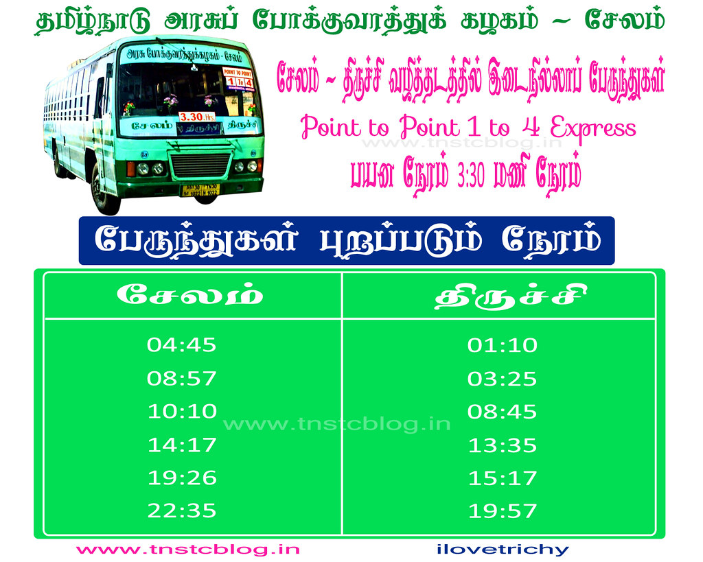 Salem Trichy 1 to 4 Express Timings.