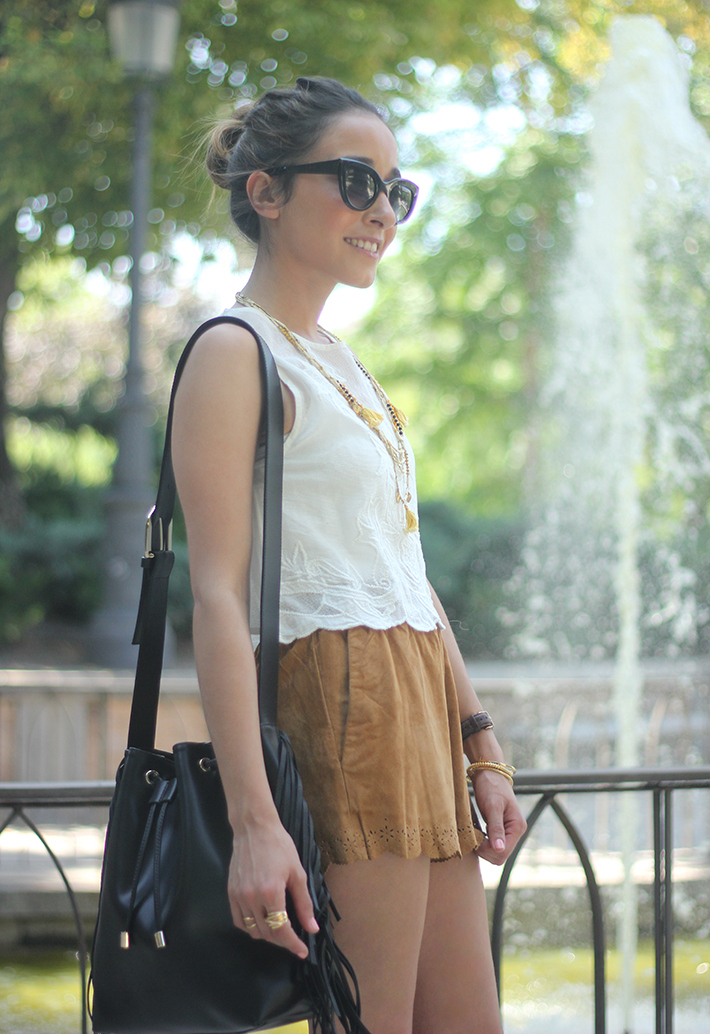 Suede Shorts White Top Summer Outfit12