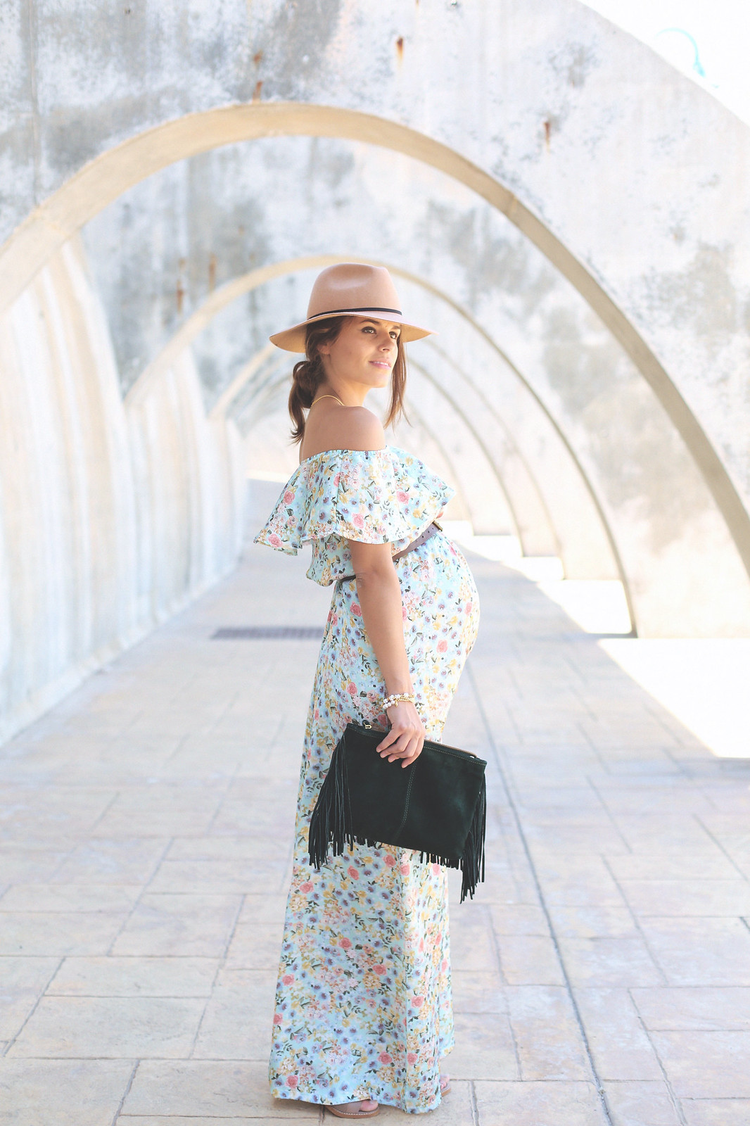 10. floral print long dress - jessie chanes - pregnancy