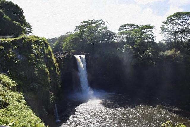 Rainbow Falls Hilo - Topaz Impressions Oil Painting Lasala 55 pct