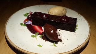 Warm Chocolate Brownie, Salted Coconut Ice Cream, Cherry Gel, Hazelnut Ganache at Transformer