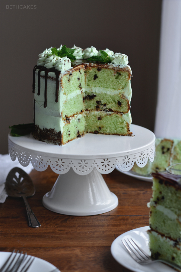 Mint Chocolate Chip Cake - bethcakes.com