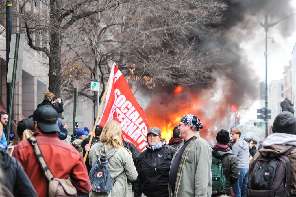 Socialism, as the limo burns