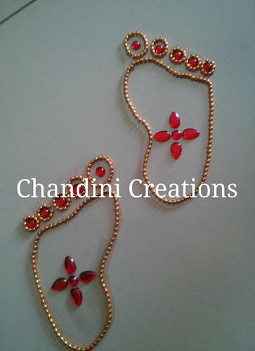 Chandhini Creations Krishna Feet kundan work