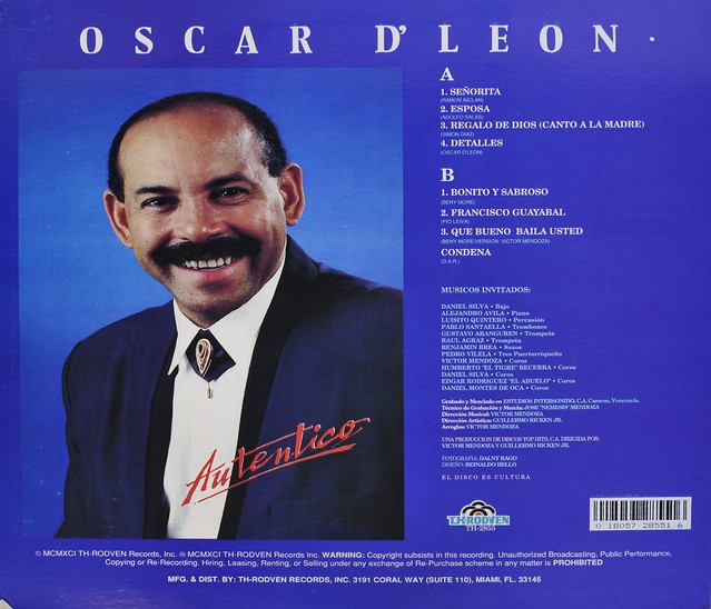 "OSCAR DE LEON Auténtico 12"" LP VINYL"