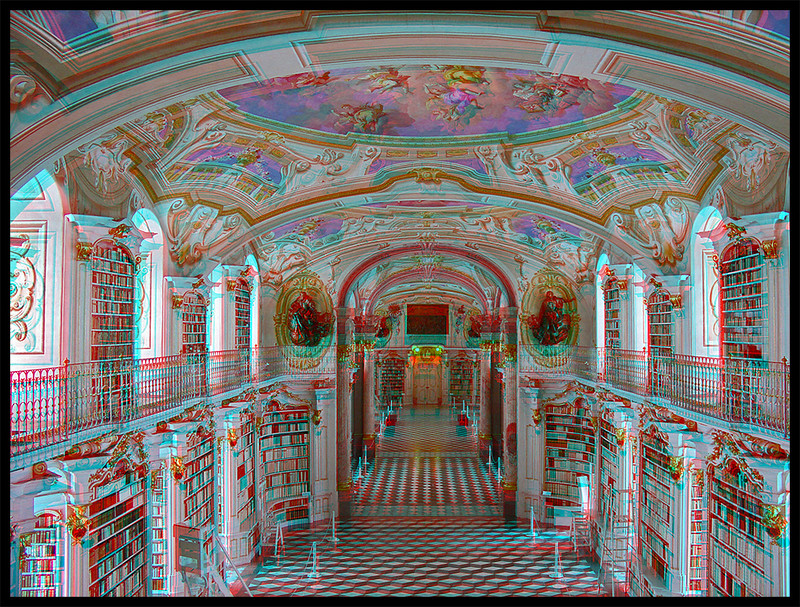 LIBRARY OF ADMONT ABBEY  . STEREOSCOPIC VIEW (ANAGLYPH)
