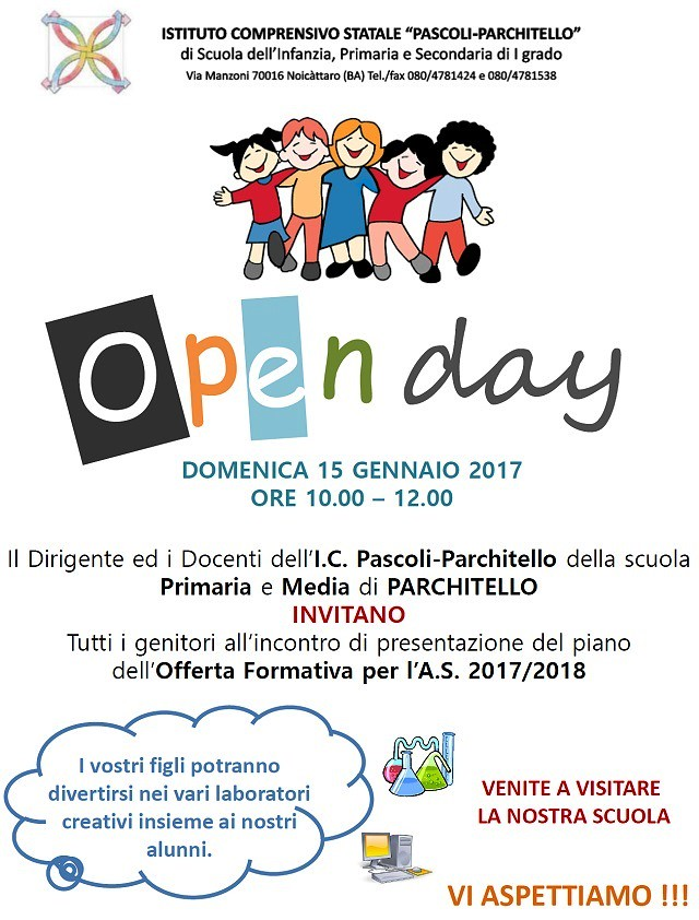 Noicattaro. Open Day Primaria e media Parchitello intero