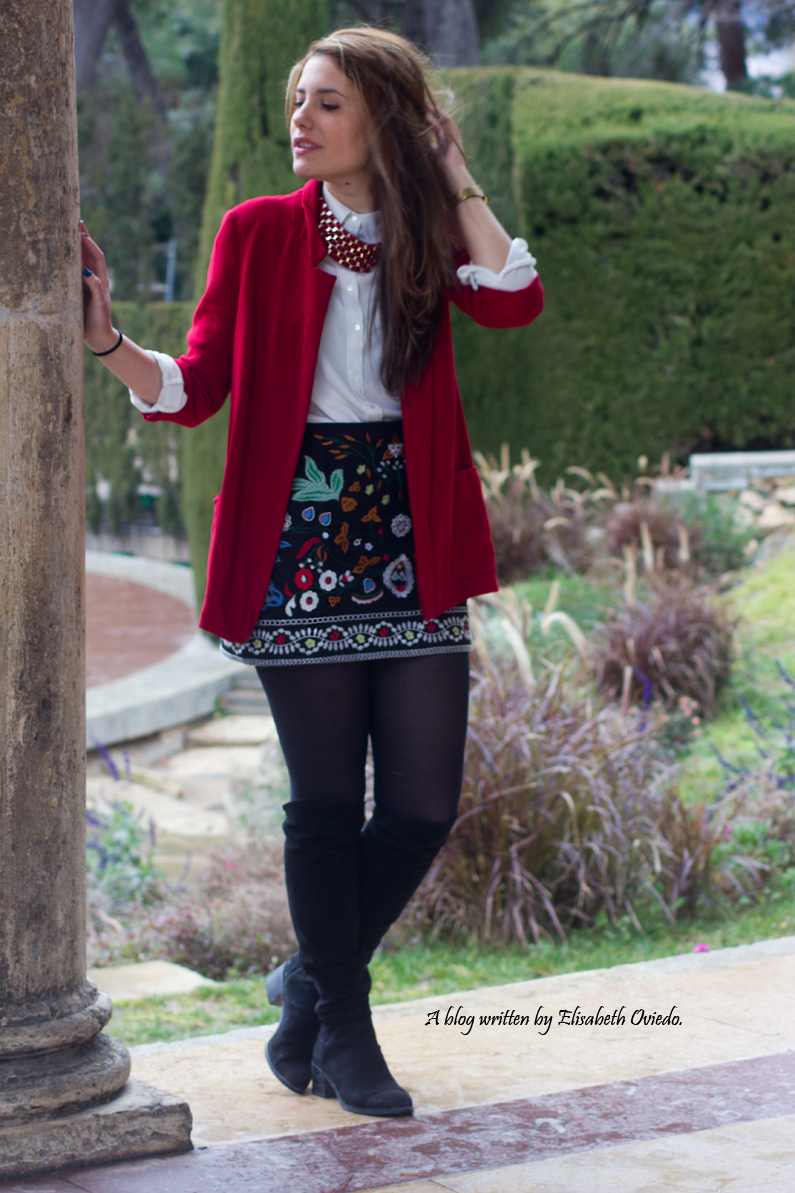falda zara zaful negra estampado tribal blazer roja look  (1)
