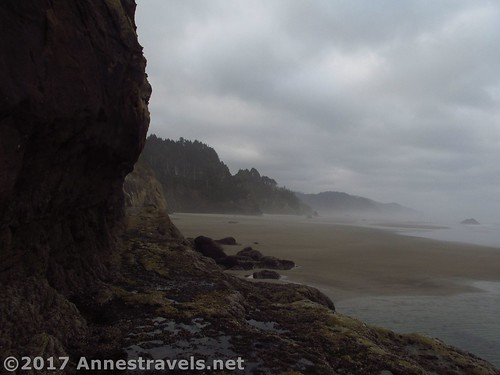 Looking south from Hug Point south of Cannon Beach, Oregon