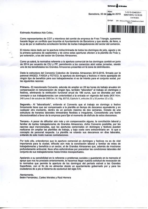 CGT FNAC El Triangle exigeix la derogació del permís d'obertura en els diumenges dels mesos de juliol, agost i 1a quinzena de setembre a l´Ajuntament de Barcelona